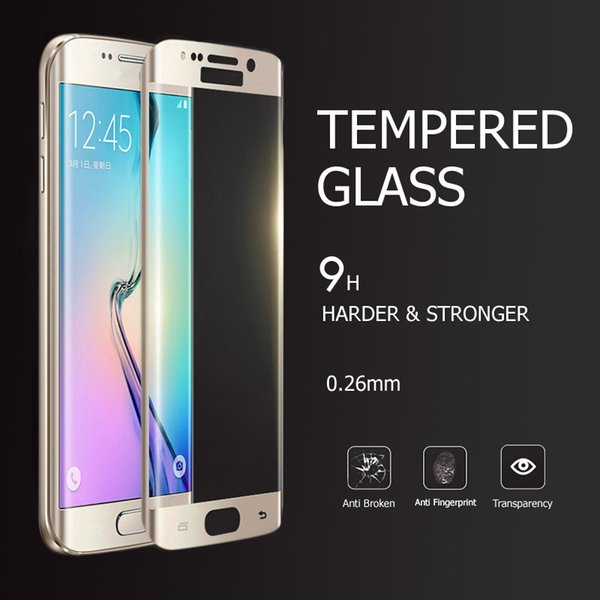 Hot For Samsung Galaxy S6 Edge G925 PET Electroplating Protective Film Full Cover Tempered Glass Screen Protector 9H 4D Arc 0.26mm Six Color