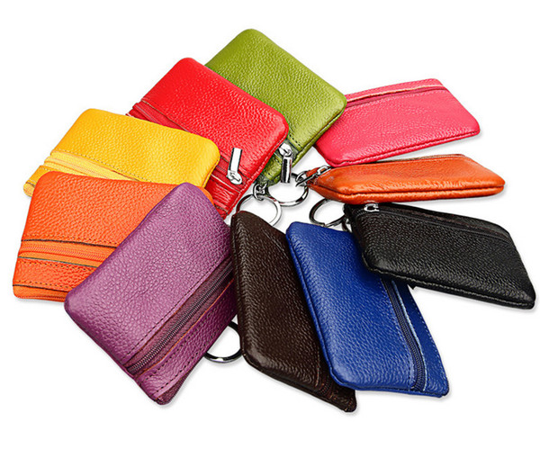 100Pcs/lot New Arrival Leather pure Coin purses keychains keys wallet Purse change pocket holder organize cosmetic makeup