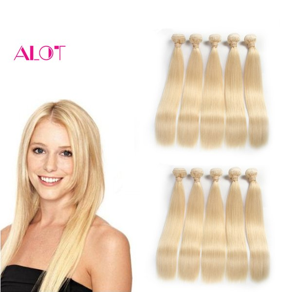 Prezzo di fabbrica dei capelli brasiliano ALOT Capelli biondi diritti umani diritti 613 Capelli non trasformati diritti brasiliani vergini biondi 10 pacchi