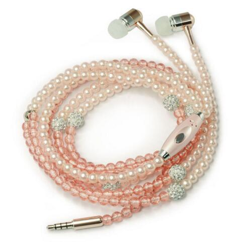 Headphone MP3 Diamond Pearl beads In Ear Necklace Earphones With Mic Fashional gift Girls Phone Earbuds Headset Gifts 3.5MM High Quality