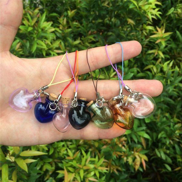 Glass Heart Pendants Mini Bottles With Chains Lobster Clasp Cute Glass Love Hearts Pendants For Bracelets Mixed Colors 7pcs