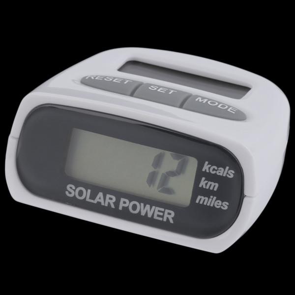 Wholesale-New Solar Energy Schrittzähler Elektronische Sport Pedometer Multifunktions Schrittzähler Weiß freies Verschiffen Heiß