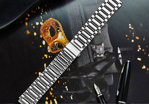 Wholesale- FOHUAS Luxury 316L watchband straps band metal Link For huawei smart watch stainless steel bracelet loop black gold Silver