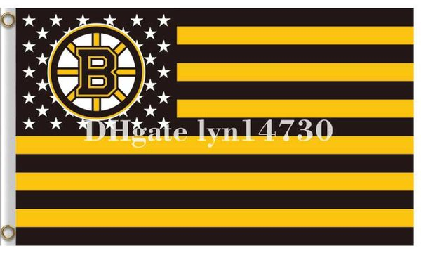 Boston Bruins Bandiera stelle e bandiera stelle USA Bandiera NHL Bandiera stampa poliestere 90x150 cm con 2 occhielli in metallo 3x5ft