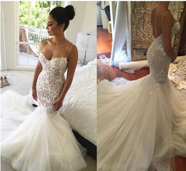 Sexy Mermaid Backless Wedding Dresses Spaghetti Neck Lace Applique Sleeveless Saudi Arabic Bridal Gowns Beads Sweep