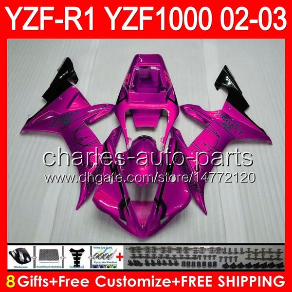 Pink CORONA 8gifts Body For YAMAHA YZFR1 02 03 YZF1000 YZF-R1 Pink CORONA 02-03 92NO83 YZF 1000 YZF-1000 YZF R 1 YZF R1 2002 2003 Fairing