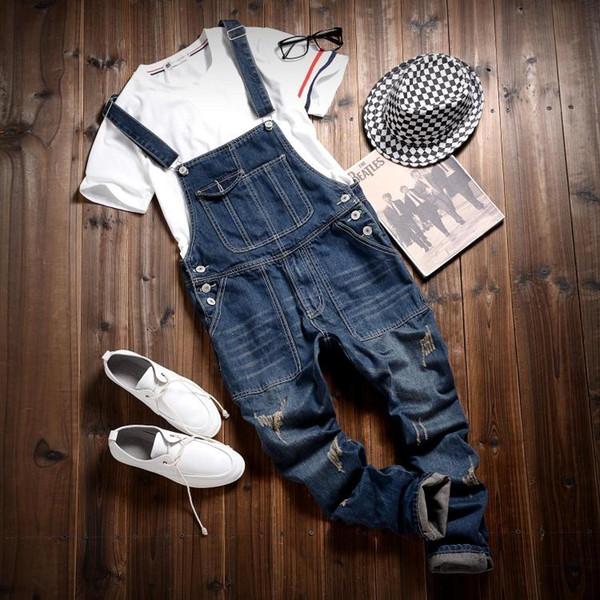Wholesale-2016 Hot Sale Male Cotton Jean Denim Jumpsuit For Men One Piece Mens Bib Overalls Fashion Jumpsuit Salopette Homme Black Blue