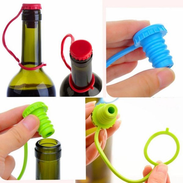 New Arrival Kitchen Anti-lost Silicone Hanging Button Seasoning Beer Wine Cork Stopper Plug Bottle Cap Cover Perfect Home Kitchen Tools LZ11