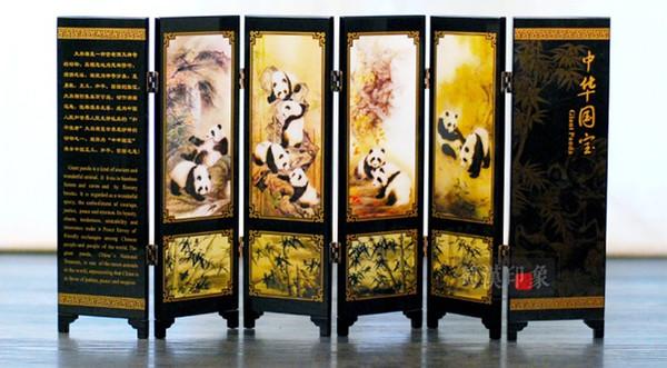 Panda Folding Screen Chinese Antique Lacquerware Decoration