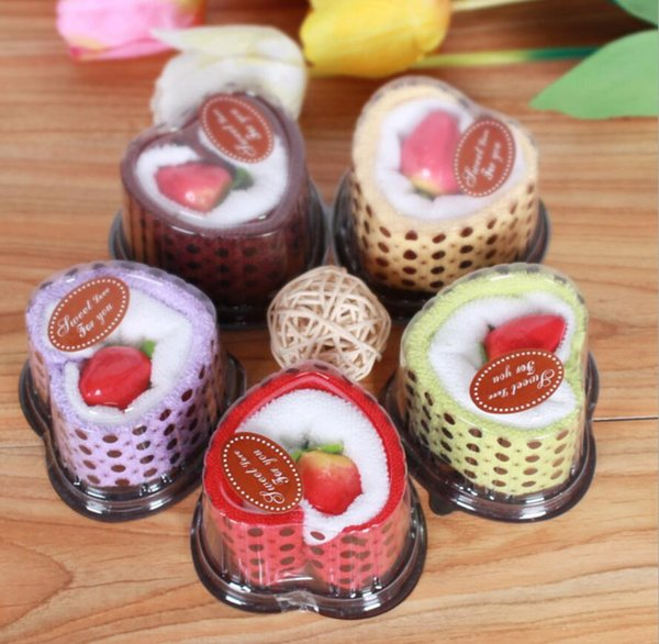 10pcs Mixed color Heart Cake Style Towel Fibre Creative Towels For Wedding Party Birthday Favor Gift Souvenirs Souvenir