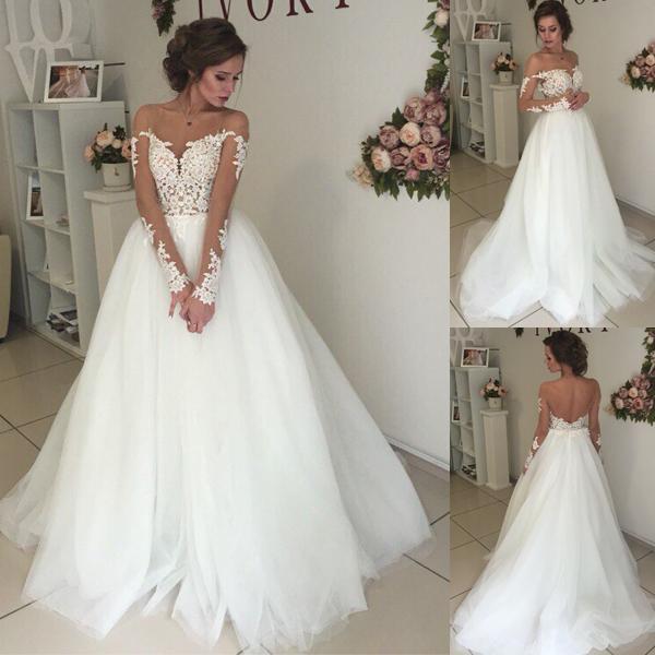 60a3e777d Vestidos de boda de encaje de Vinatge del país fuera del hombro mangas  largas Vestido de