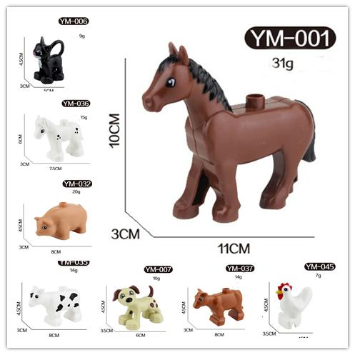 free shipping animals Series cock/horse/cattle/dog/pig/cat Large Particle Building Blocks Kids Toys gift Compatible with Legoe Duplo