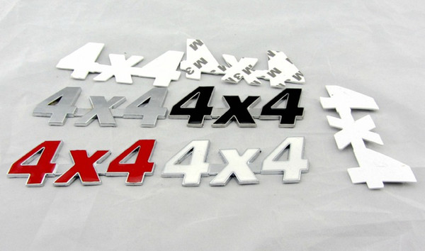 3D metal 4x4 Emblem Badge decals stickers All Wheel Drive car styling auto motorcycle logo accessories silver black red white color creative