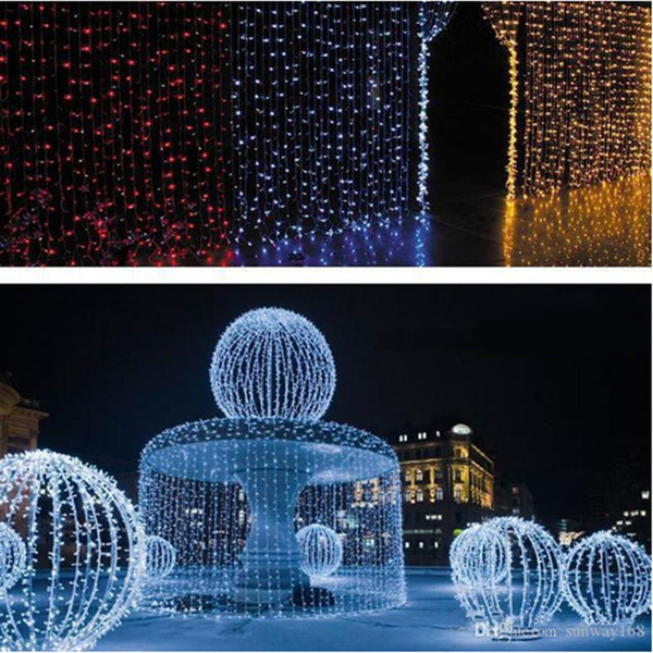 2017 500 Led Curtain Light 10m*1.5m 110- 220v Christmas Xmas Outdoor String Fairy Lights Wedding Party Decoration Au Eu Us Uk Plug
