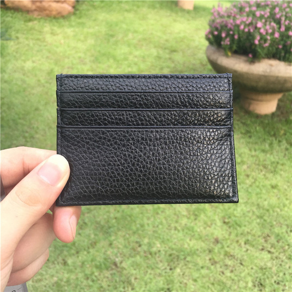 2019 Lychee pattern ultra thin head layer of leather creative flat card bank card package thin money card holder with packing box