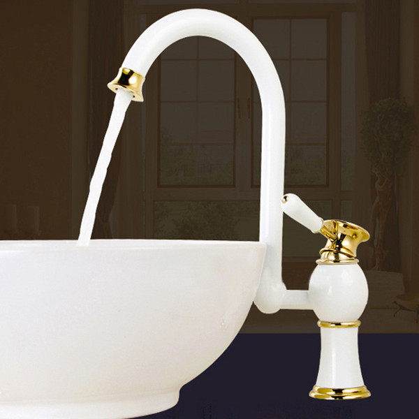 best selling Bathroom Basin Faucet with single hole Single Handle ,Grilled white  rose golden paint sink faucet Bathroom Multifunctional wrench