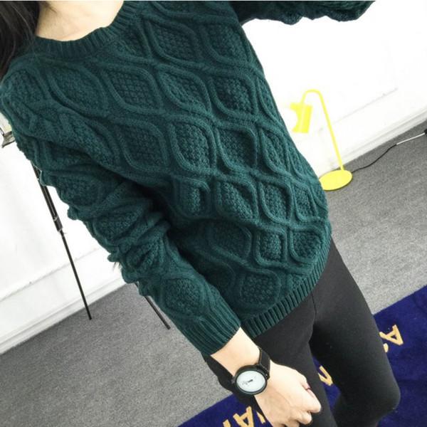Al por mayor-12 colores! Caliente nuevo otoño invierno mujeres algodón elástico giro suéter señora de punto manga larga O-cuello de lana jerseys
