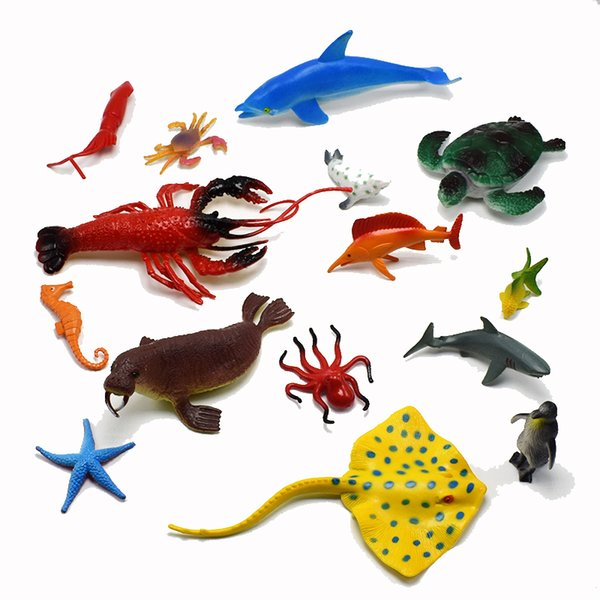 15Pcs/set PVC Simulation marine organism Model Of Dolphins octopus sea turtles crab seal lobster starfish Model Toys fish for kids gift