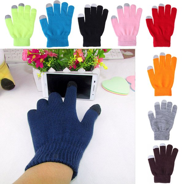 New 12Colors Winter Gloves Conductive Capacitive Touch Screen Gloves for iPhone iPad Mini Samsung Edge Smart Phone Gloves Christmas Gift