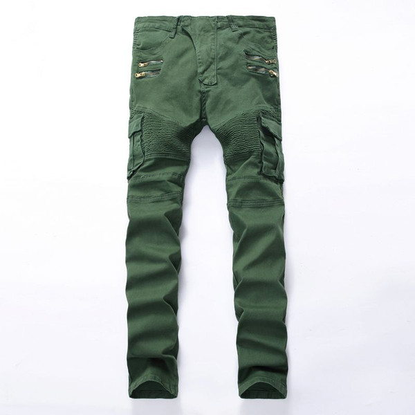 Men jeans Biker Punk Style Cargo Pocket Jeans Skinny Famous Brand Mens Designer Clothes Zipper Denim Pants Army Green