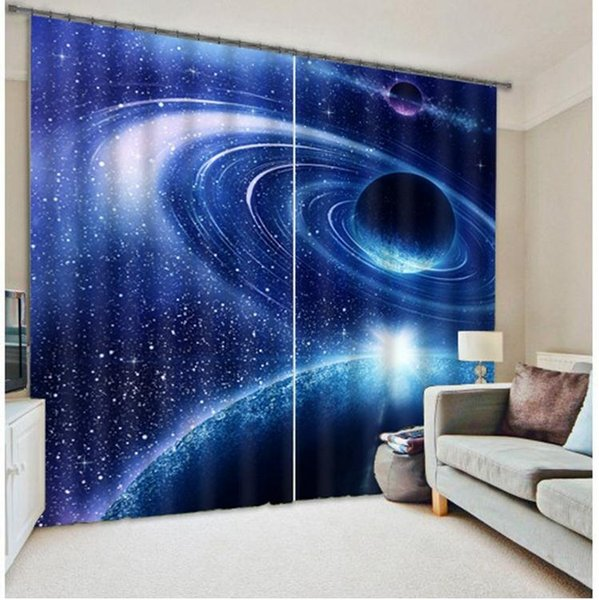 Galaxy Universe 3D Photo Printing Blackout Curtains for Kids Beddingroom Living Room Drapes Curtians Sunshade Window Curtain