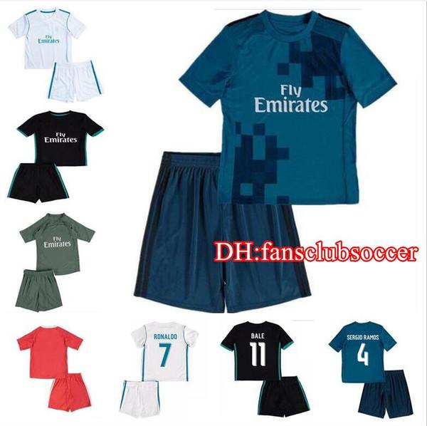 ca0d1715e36 Top 17 18 Real Madrid kids soccer jersey kits best youth boys child jerseys  kits 2017 2018 RONALDO BALE ISCO goalkeeper Football kit