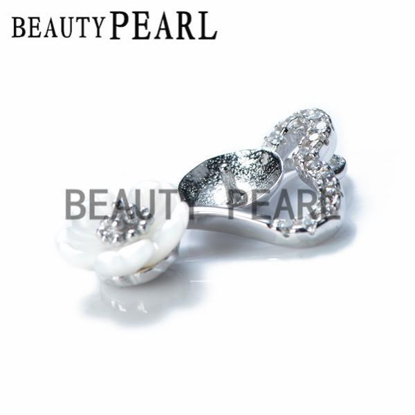 Bulk of 3 Pieces White Shell Flower Heart Pendant Jewellery Findings 925 Sterling Silver for DIY Charm Pendant Mount