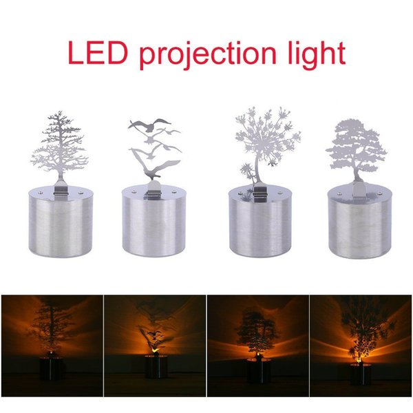 Luminoso LED Shadow Projection Light Table Night Lamp Atmosfera Decorazione Pine Tree Birds Dandelion Cedar Style Option