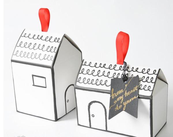 2000 pcs Pequena Casa Caixa De Embalagem de Papel caixa de doces caixa de presente de casamento caixas de doces nougat Livre DHL FEDEX grátis