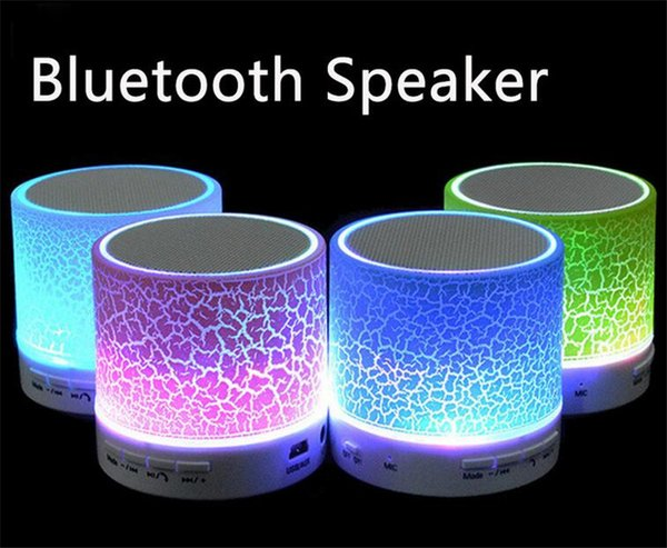 Mini portable A9 crackle texture Bluetooth Speaker with LED light can insert U disc, mobile phone player with retail box
