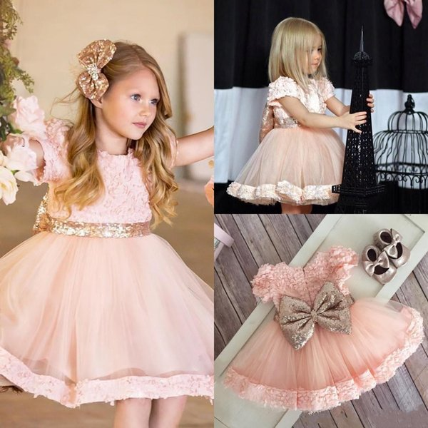 2017 Little Girls Dresses Jewel Short Sleeves With Applique Girls Cupcake Dresses Big Bow Tiered Ruffle Custom For Wedding Celebrity Gowns