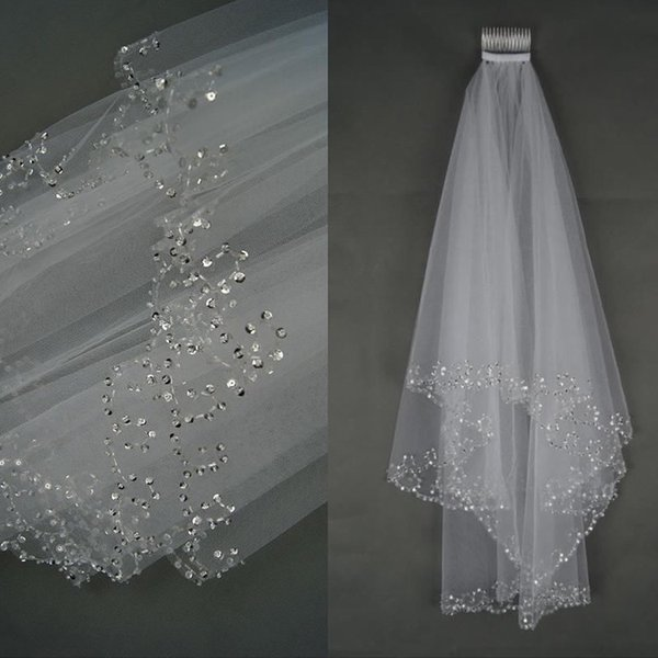 Two Layers Short Tulle Bridal Veils White Ivory Beaded Crystals Short Elbow Length Wedding Bridal Veils With Comb