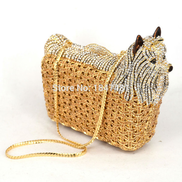 Wholesale- Classic Designer luxury crystal evening bag Animal dog women evening purse bags Free shipping ladies Day Clutches bag SC031