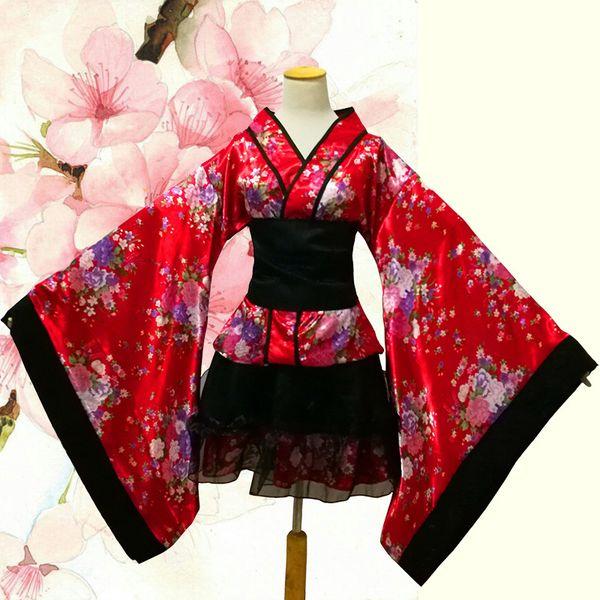 Традиционный японский костюм Хэллоуин аниме косплей Равномерное Женщины Лолита Maid платье Themed партии Outfit Сексуальная Sakura Кимоно Костюмированный