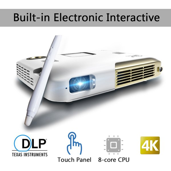 Wholesale- Portable LED Mini 4K Projector Video Full hd 1080P DLP Projector 2000 Lumens Android Dual Wifi Pen Interaction Home Theater HDMI