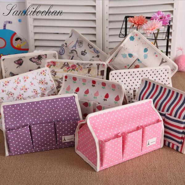 Al por mayor-Nueva tela de algodón y lino 6 caja de pañuelos de bolsillo decoración del hogar Tipo de asiento Home Car Tissue Case servilleta de papel para toallas de papel