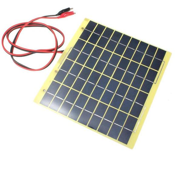 Venta caliente 18V 5W policristalino de silicio Panel solar Panel solar + Cocodrilo Clip Sistema Diy Solar para cargador de batería de coche