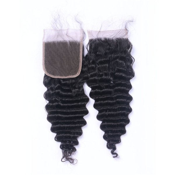 Deep Wave 100% Virgin Brazilian Remy Hair Weave Closure 4x4 Three Part Lace Closure Piece Natural Color 8-20 Inch