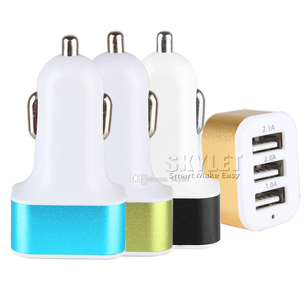 best selling SKYLET Car Charger 5V Dual 3 Ports Charging Adapter Compatible for Samsung Huawei LG