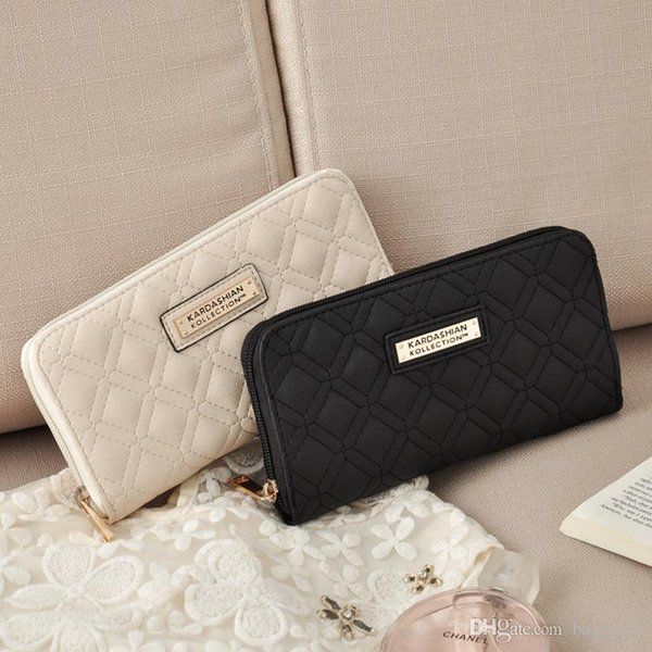 KK Wallet Long Design Women Wallets Fashion Brand PU Leather Kim Kardashian Kollection High Grade Clutch Bag Zipper Coin Purse Handbag Free