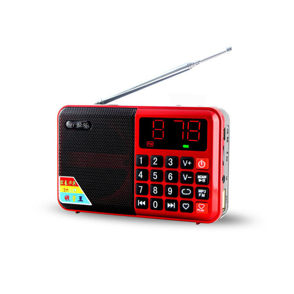 Wholesale-Mini Pocket Size FM Radio Receiver With Led Display Portable Speaker TF Card USB Support With BL-5C Rechargeable Battery 2 Color