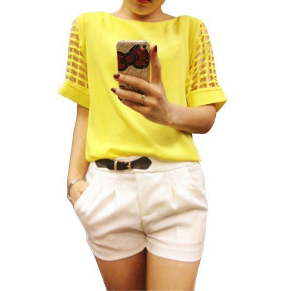2017 Verano Más El Tamaño de Las Mujeres Blusas de Gasa Camisas O Cuello Ahueca Hacia Fuera la Manga Corta Sólido Ocasional de las señoras Tops Blusas