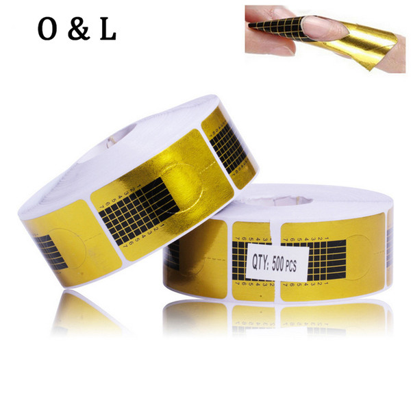 Wholesale- Golden Nail Form,500pcs/roll Nail Art Tip Guide Extension,Acrylic UV Gel Nail Sticker Manicure Forms Holder ,Nail Tools