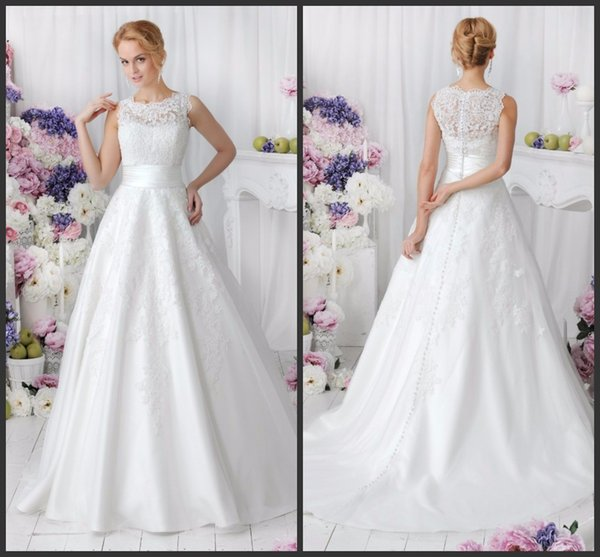 Vintage Country Wedding Dress Jewel Neck Covered Bottons Detachable ...