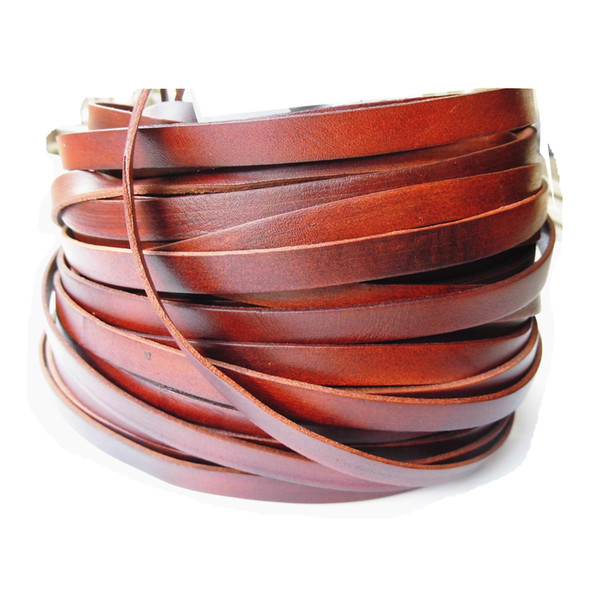 5 Yards 10mmx1.5mm Brown Genuine Cow Hide Flat Leather Srip, 10mm Wide Real Leather Craft for Jewelry Making LeatherRush