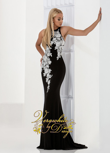 Sexy Black Mermaid Evening Dresses 2017 Jewel Neck White Appliques Ruffle Sleeveless Vintage Satin Prom Party Gowns Custom