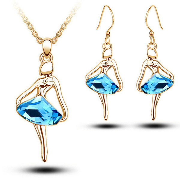 Fashion Blue Crystal Figure Jewellery Sets For Women Gold/Silver Plated Ballet Girl Angel Earrings Necklace Set Christmas Gift