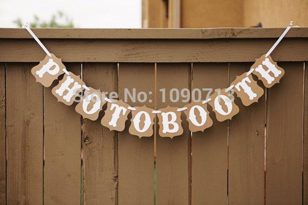 Vente en gros - Livraison gratuite 1 X PHOTOBOOTH à la main de mariage Bunting Banner Photo Booth Props de fête d'anniversaire Prop