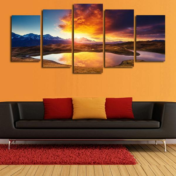 Hot Sale Home Wall Decoration Unframed Painting Living Room Bedroom Wall  Decor Sunset Paintings 5 Panels