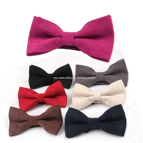 BowTie Mens Adjustable Suede Leather Bow Tie Pre Tied Neck Bowtie Bow Tie Men Fashion Accessories Free Shipping